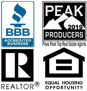 Logos for the following: BBB Accredited Business, Pike's Peak Top Real Estate Agents 2018, REALTOR, Equal Housing Opportunity